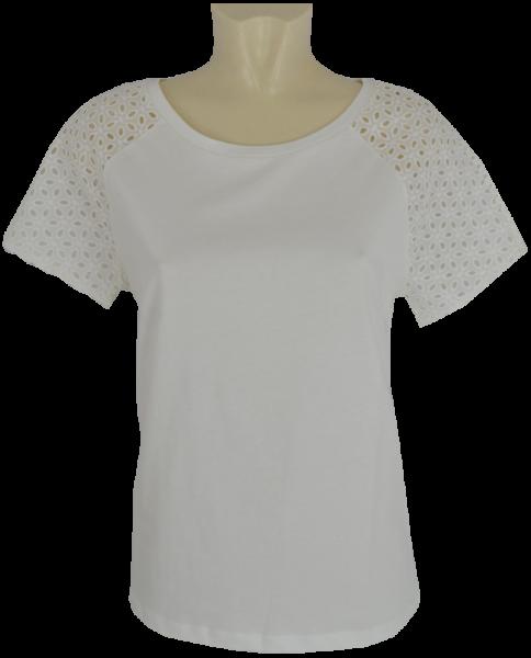 Shirt mit Häkel Optik am 1/4 Arm in offwhite
