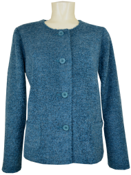 Leichte Boucle`Strickjacke in Petrol