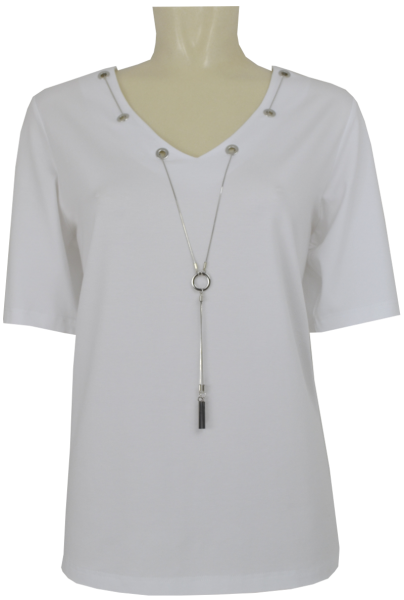 1/2 Arm Shirt in weiß mit Kette
