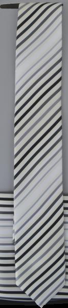 Krawatte mit Tuch in ecru-weiß-grau-schwarz gestreift