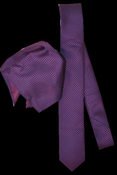 Seiden Krawatte mit Tuch in pink-dunkel blau fein gemustert