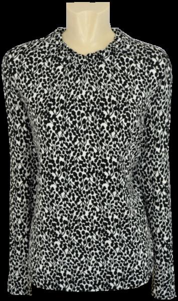 1/1 Arm Blusen Shirt in schwarz-weiß gemustert