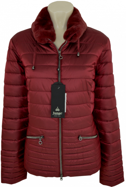 Steppjacke mit Webpelz in bordeaux