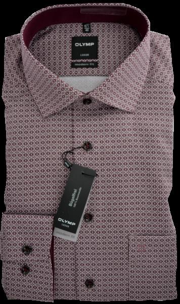 1/1 Arm Freizeithemd mit feinem Muster in bordeaux-weiß
