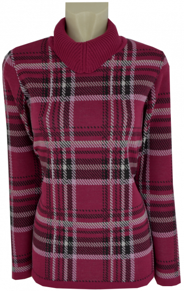 Pullover mit Umschlagkragen in mehrfarbig gemustert
