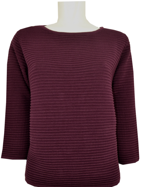 Pullover in cassis mit Rippen Optik