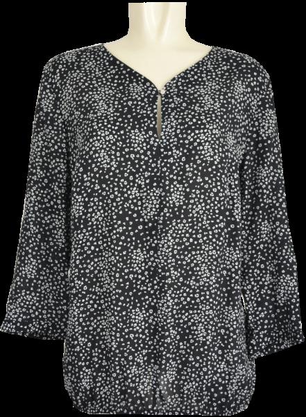 3/4 Arm Blusen Shirt in schwarz-weiß gemustert