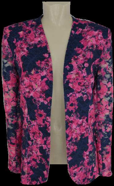 Edle Blazer-Jacke in marine-pink gemustert