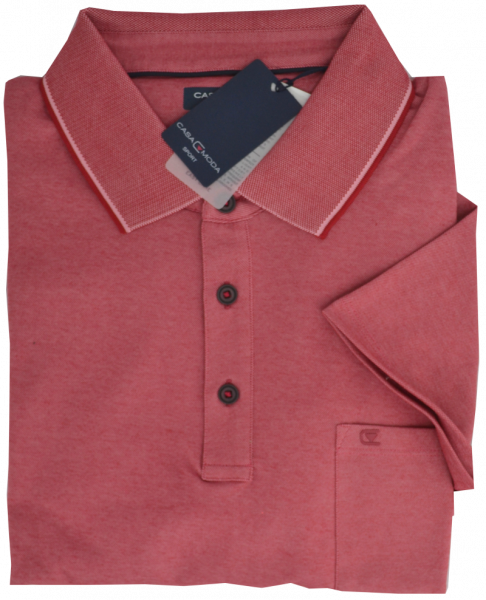 1/2 Arm Polo Shirt in himbeere-rot meliert