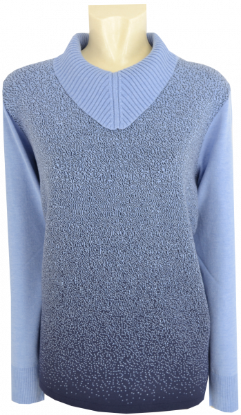 Pullover mit Umschlagkragen in bleu-marine