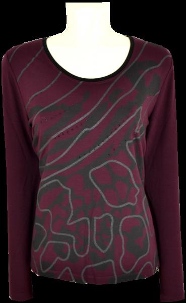 1/1 Arm T-Shirt in burgundy mit Glanz