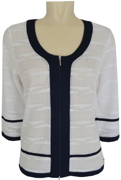 Jersey Jacke in marine-weiß