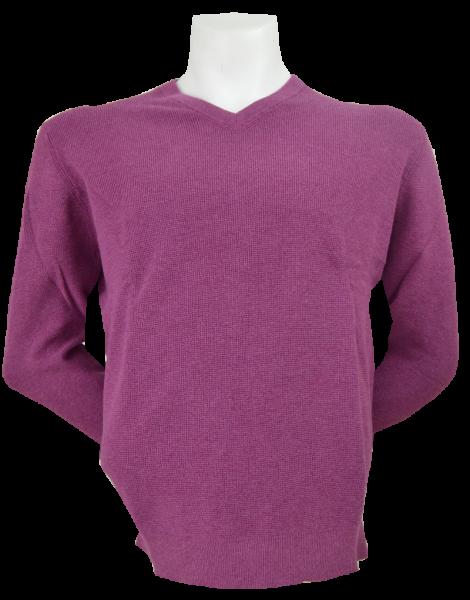 Pullover mit V-Ausschnitt in uni pflaume
