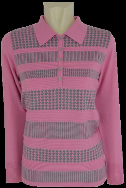 Pullover mit Kragen in puder-grau gemustert