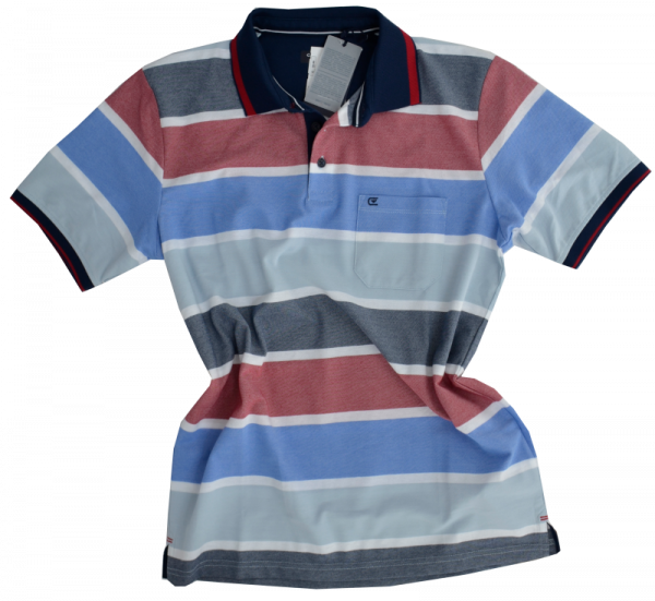 1/2 Arm Polo Shirt in mehrfarbig gemustert mit rot
