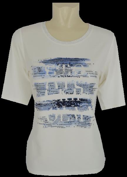 1/2 Arm T-Shirt in ecru-blau mit Glanz