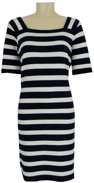 Jersey Kleid in ecru-blau geringelt