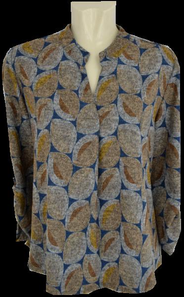 Blusenshirt mit verlängertem Rücken in Retro gemustert