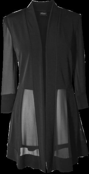 Längere Chiffon und Jersey Jacke in schwarz