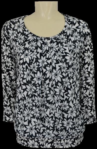 3/4 Arm Blusen-Shirt in schwarz-weiß allover floral gemustert