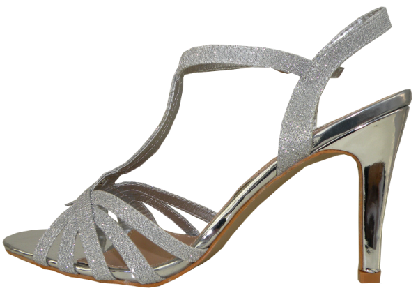 Plateausandalette in Silber mit glitzer Effekt