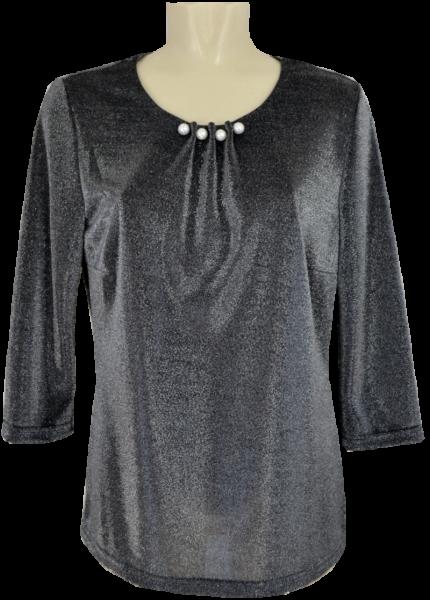 Festliches Shirt in schwarz-silber mit Glanz
