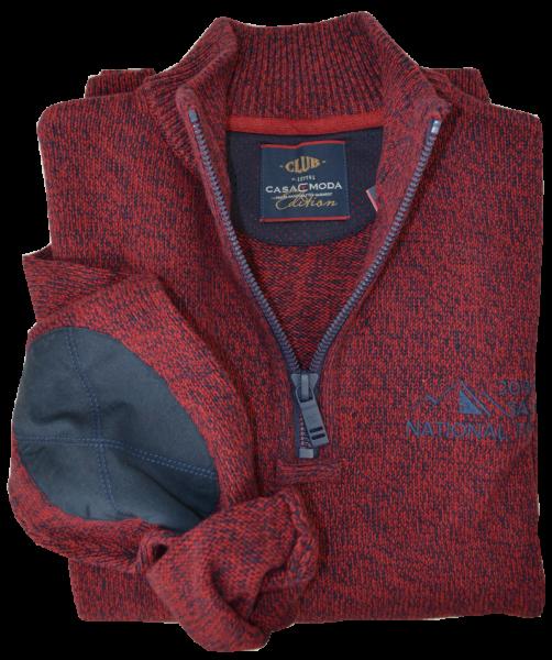 Pullover als Troyer in rot-schwarz meliert