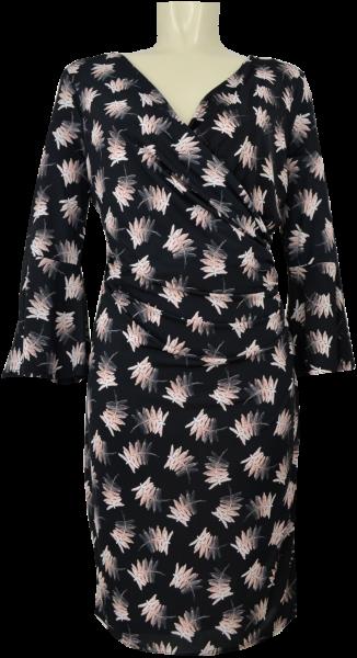 Mittellanges Kleid in allover black-peach gemustert