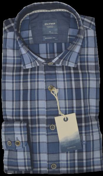1/1 Arm Freizeithemd mehrfarbig kariert mit blau