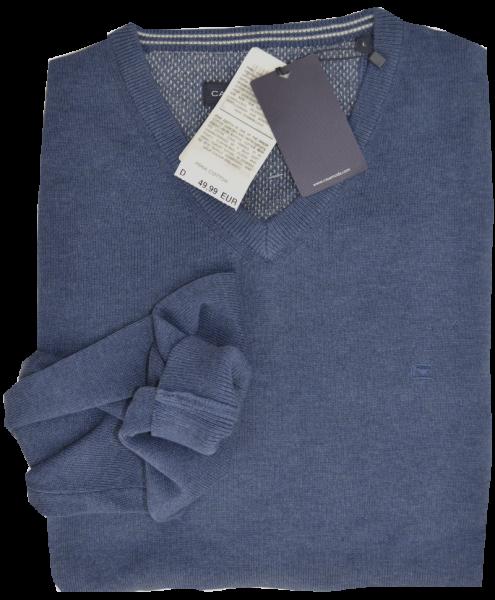 Pullover mit V-Ausschnitt in mittel blau meliert