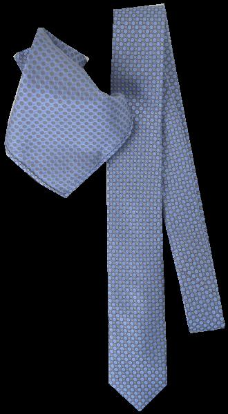 Seiden Krawatte mit Tuch in bleu-silber gemustert
