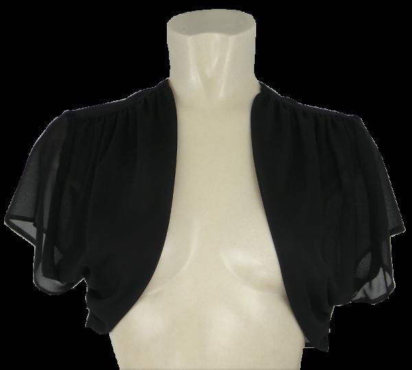 Kurzer Bolero aus Chiffon mit 14/4 Arm in schwarz