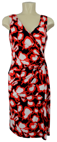 Etui Kleid in allover blue/red gemustert