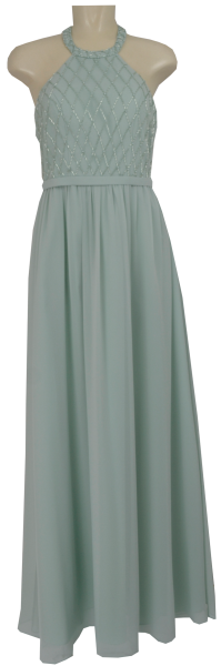 Langes Chiffon Ballkleid in chalk green