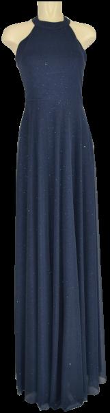 Langes Ballkleid in blau-grau-mettalic