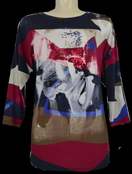 3/4 Arm T-Shirt mit rundem Ausschnitt in allover gemustert