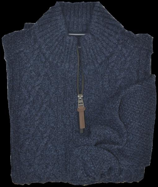 Woll-Strickjacke in blau mit Zopfmuster