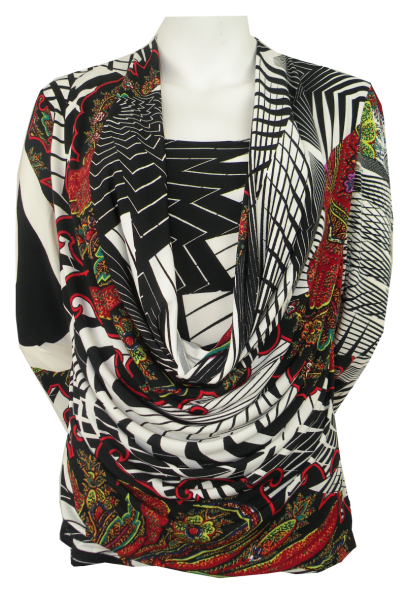 Shirt mit 3/4 Arm im all over Print als Two-In-One