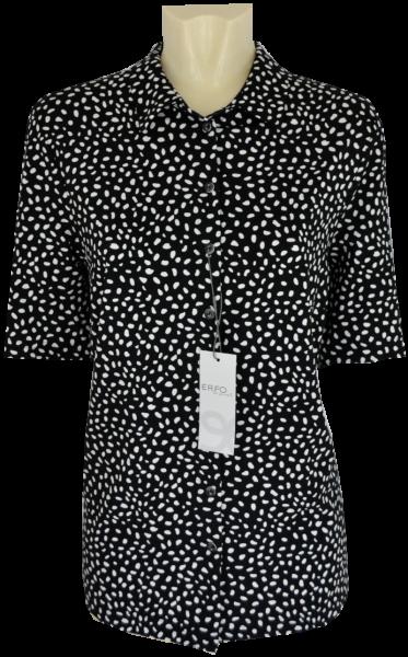 1/2 Arm Jersey Bluse in schwarz-weiß gemustert