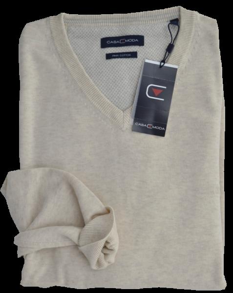 Pullover mit V-Ausschnitt in ecru meliert