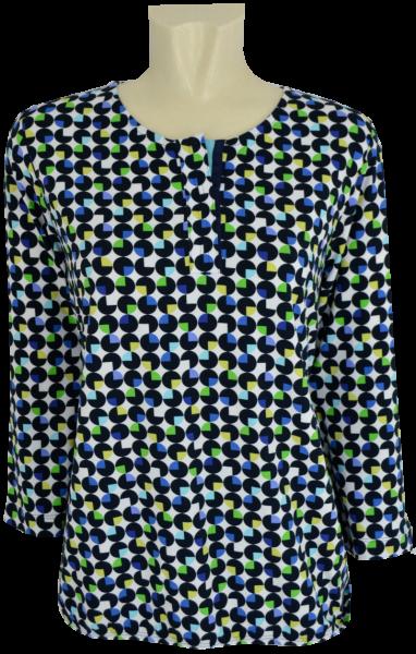 Shirt mit 3/4 Arm in mehrfarbig gemustert