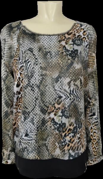 Festliches Shirt in schwarz-natur-gold gemustert