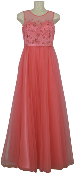 Langes Ballkleid in melon