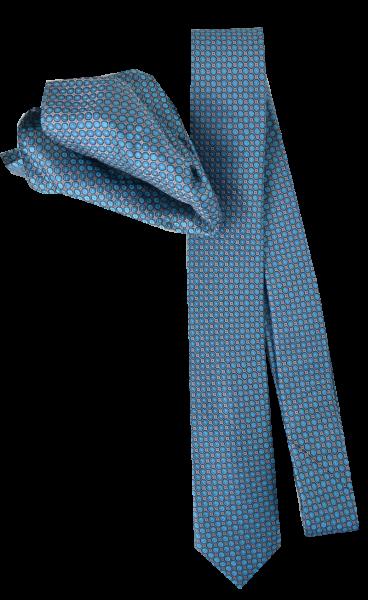 Seiden Krawatte mit Tuch in türkis-grau mit feinem Muster