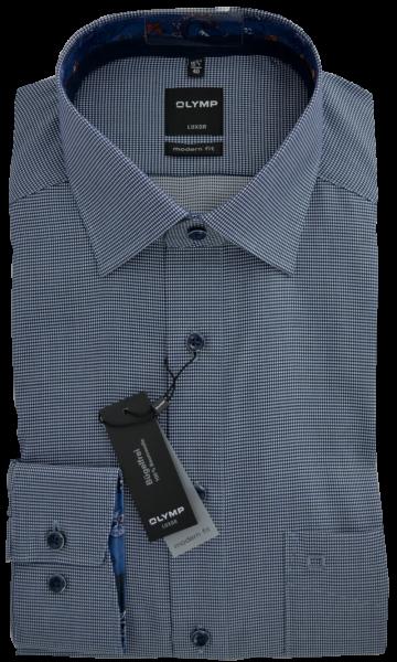 1/1 Arm Freizeithemd mit minimal Karo in blau