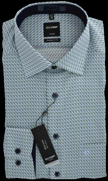 1/1 Arm Freizeithemd im Retro Dessin mit grün-bleu