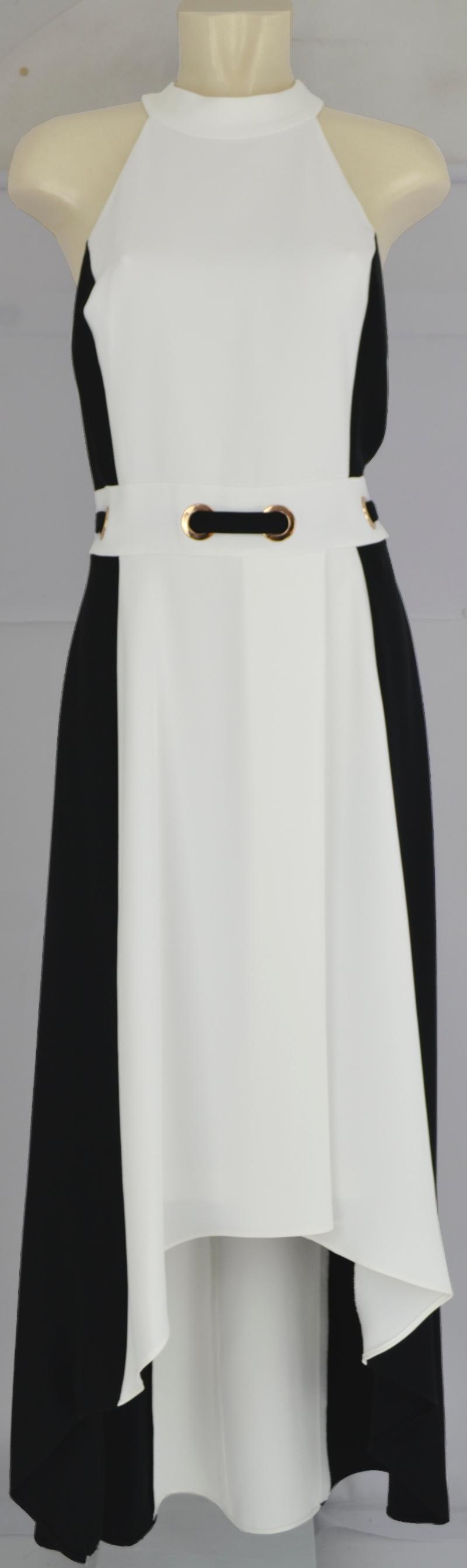langes vokuhila abendkleid in schwarz-weiß