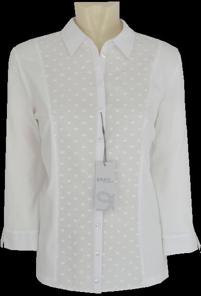 3/4 Arm Jersey Bluse mit Punkt Stickerei in weiß