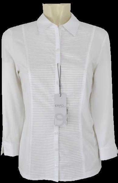3/4 Arm Jersey Bluse mit Biesen in weiß