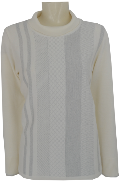 Pullover mit Umschlagkragen in wollweiß